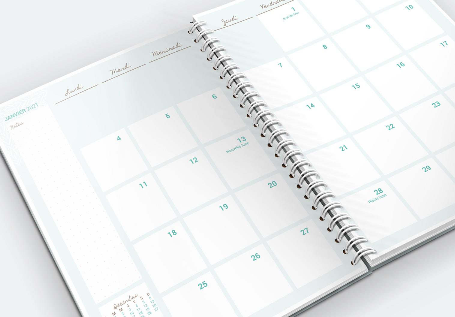 L'agenda de la Chouette organisée, vue menuelle en couleur