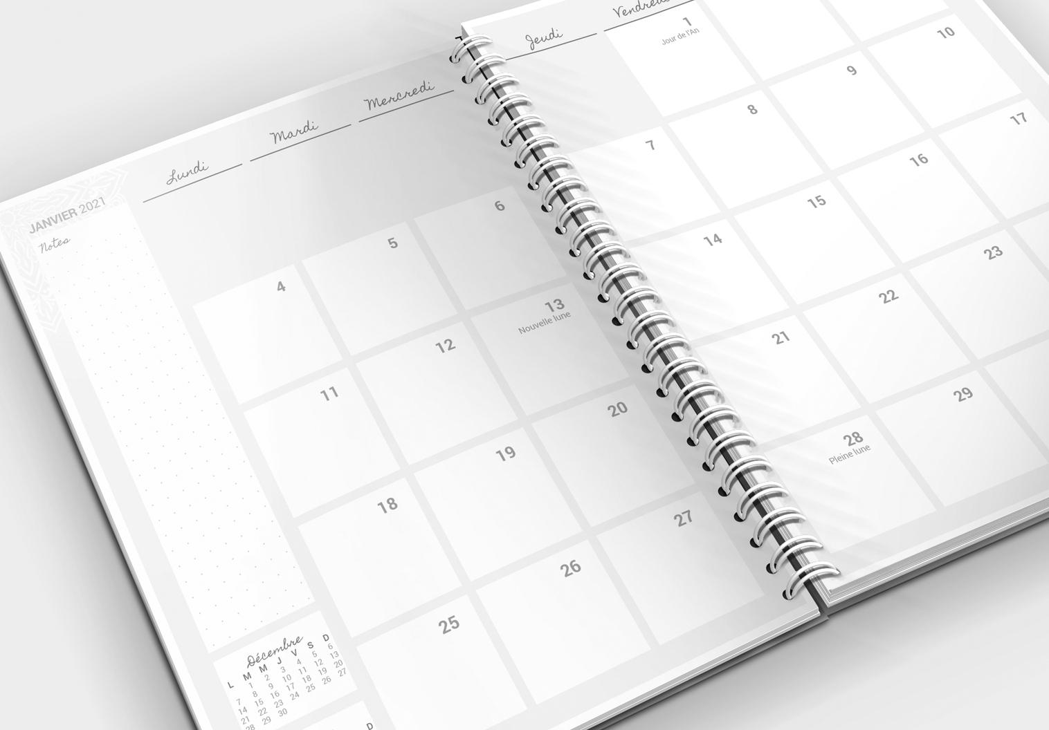 L'agenda de la Chouette organisée, vue mensuelle en noir et blanc