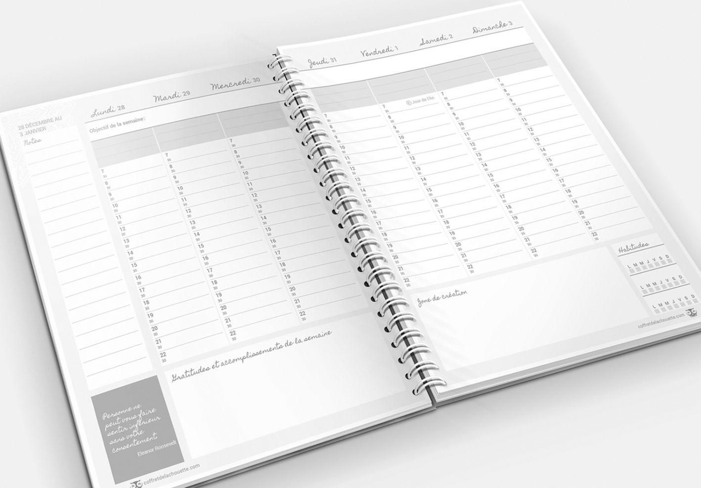 L'agenda de la Chouette organisée, version traditionnelle en noir et blanc