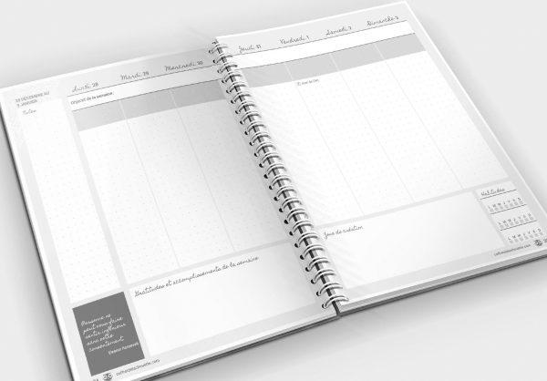 L'agenda de la Chouette organisée, version bujo en noir et blanc